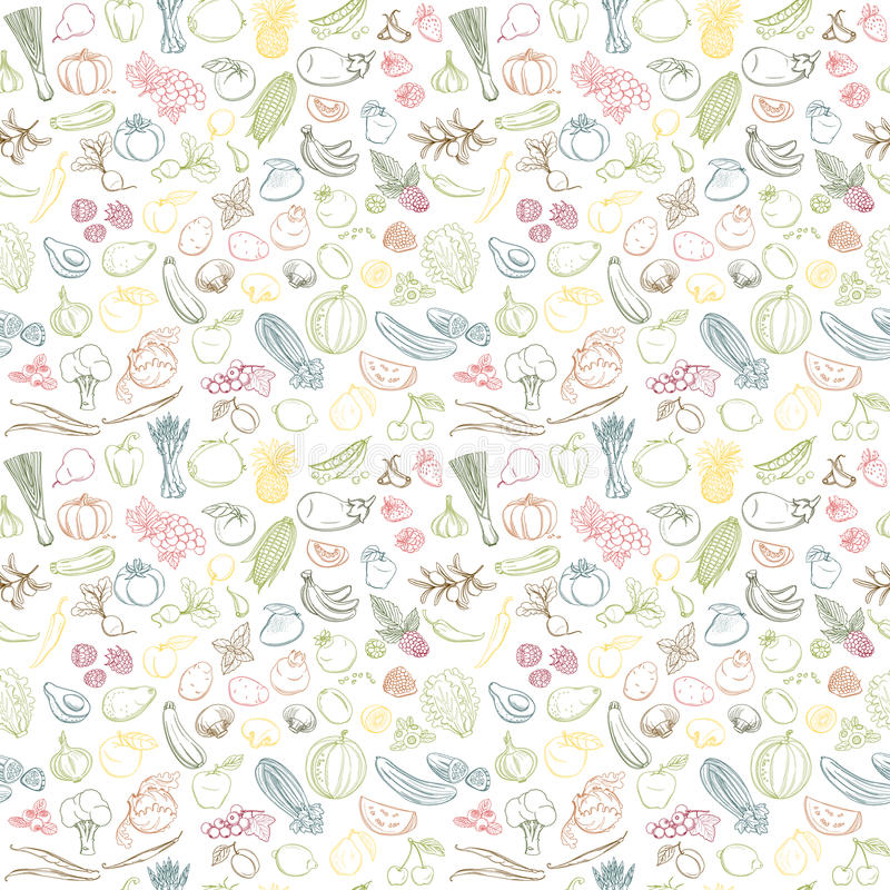 Seamless background pattern of organic farm fresh fruits and vegetables. Colored Seamless background pattern of organic farm fresh fruits and vegetables. Vector royalty free illustration
