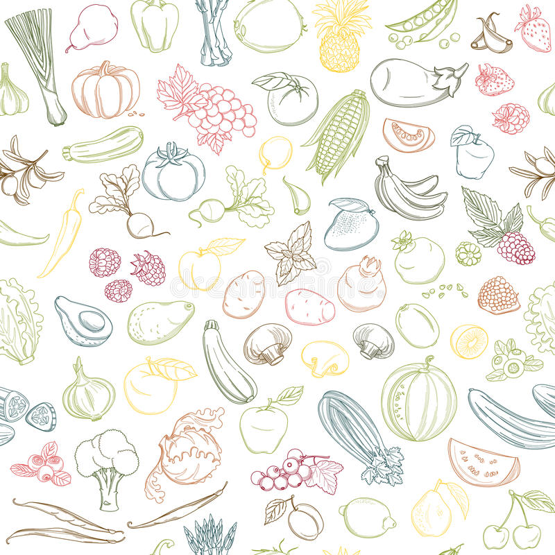 Seamless background pattern of organic farm fresh fruits and vegetables. Colored Seamless background pattern of organic farm fresh fruits and vegetables. Vector stock illustration
