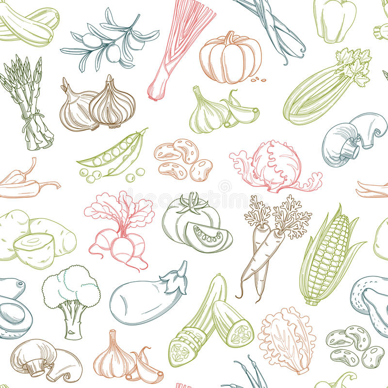Seamless background pattern of organic farm fresh fruits and vegetables. Colored Seamless background pattern of organic farm fresh fruits and vegetables. Vector vector illustration