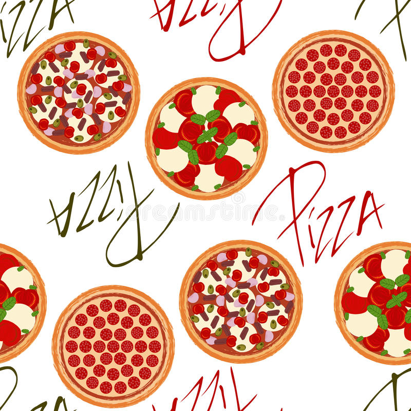 Seamless background pattern with pizzas stock illustration