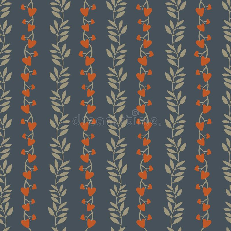 Seamless background pattern with simple vertical vines and tree branches colored on autumn color stock illustration