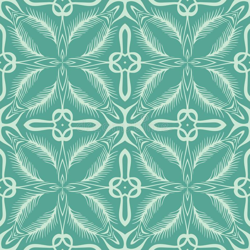 Cyan coloured leaf seamless pattern background illustration stock image