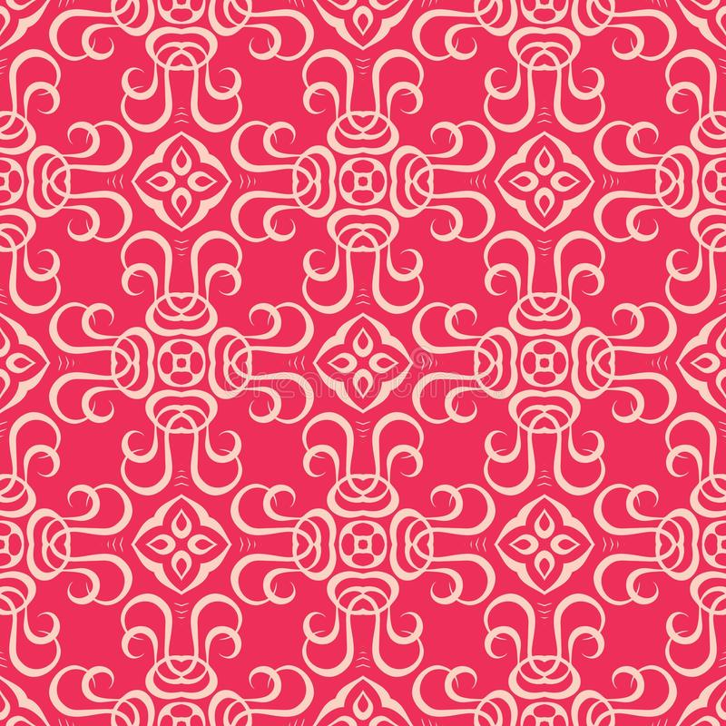 2d blocked Reddish pink base seamless pattern background illustration. Seamless background pattern for use in fabrics , web backgrounds , art , styling , prints stock illustration