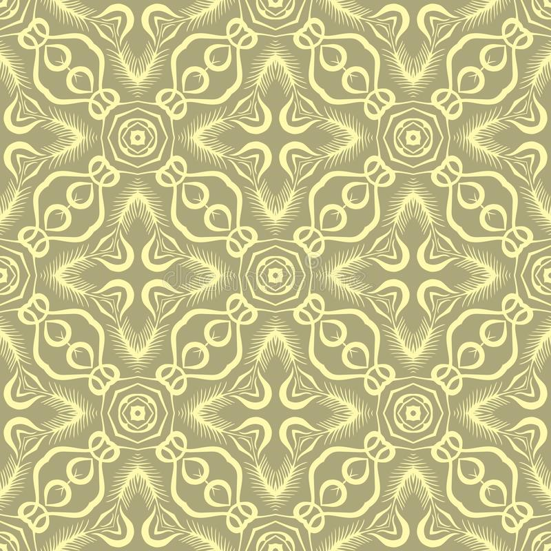 Linked star leafs seamless pattern background illustration in dull green base. Seamless background pattern for use in fabrics , web backgrounds , art , styling stock illustration