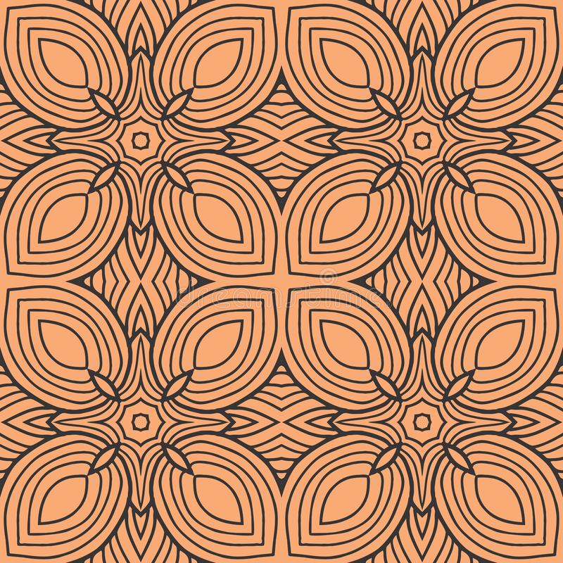 Orange leafs in squares seamless pattern background illustration royalty free illustration