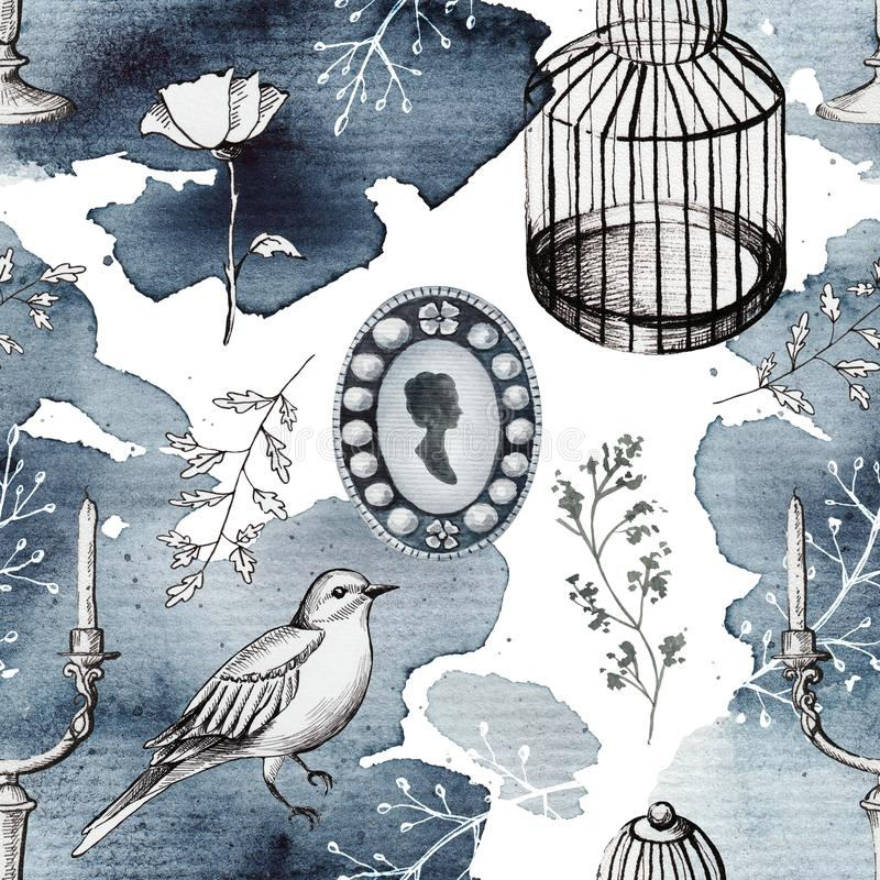 Seamless background pattern with vintage subjects. Seamless background pattern with candlestick, bird, twigs, bird`s cage, brooch and flowers. Liner graphic and stock illustration