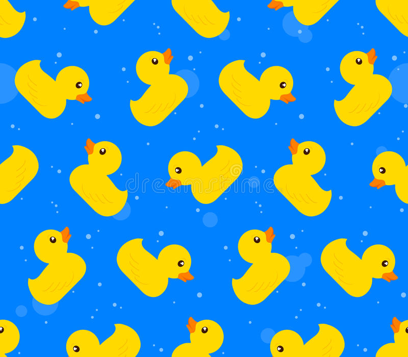 Seamless background pattern of yellow rubber ducks vector illustration