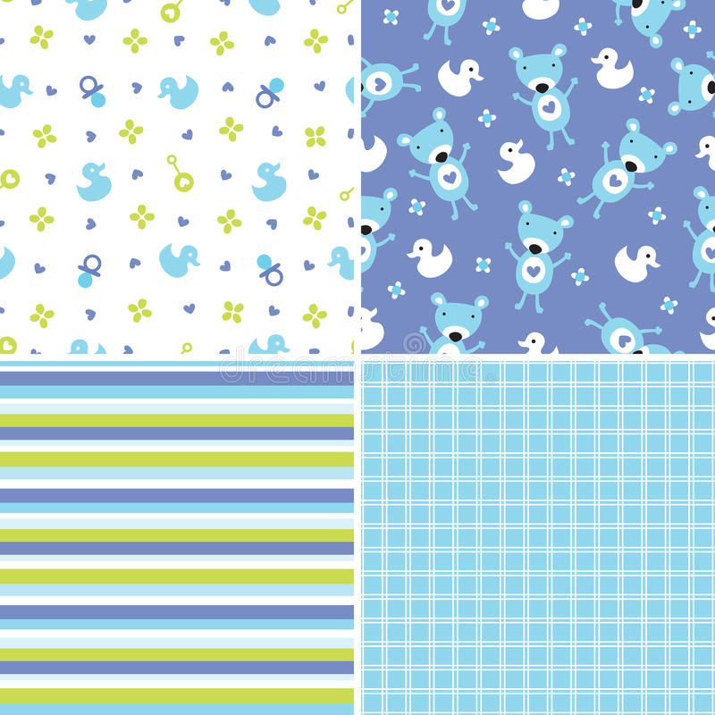 Seamless background patterns in blue and green vector illustration