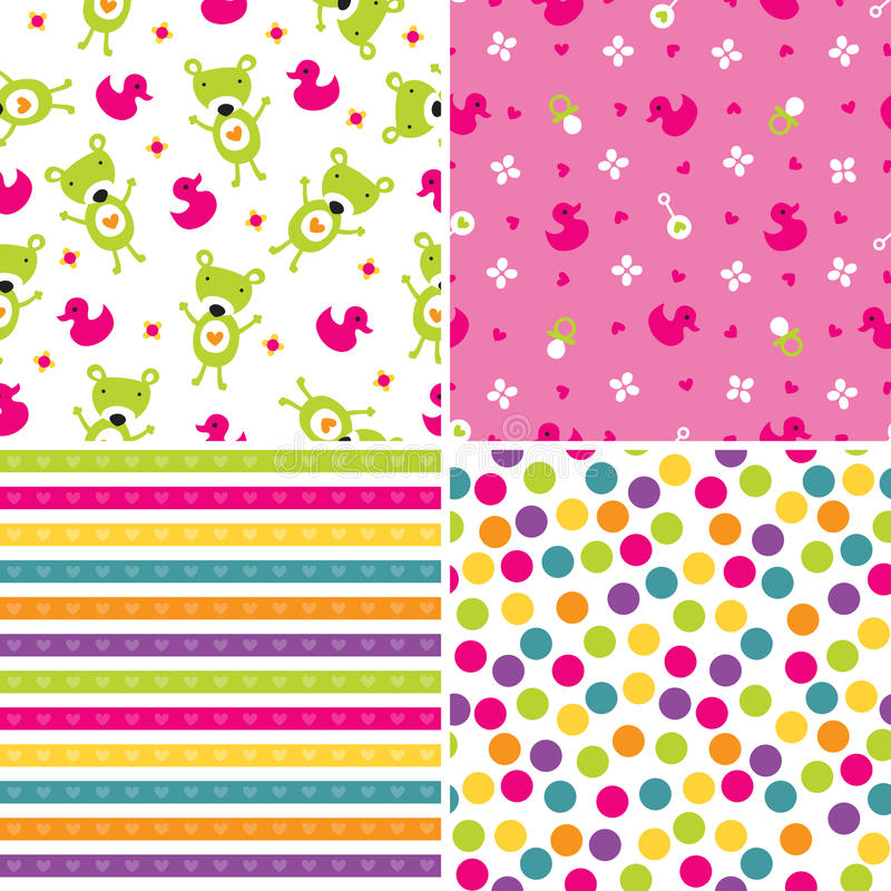 Seamless background patterns in pink and green royalty free illustration