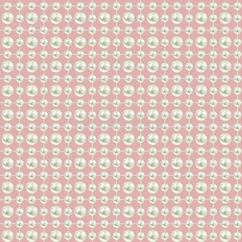 Seamless background with pearls on pink vector illustration