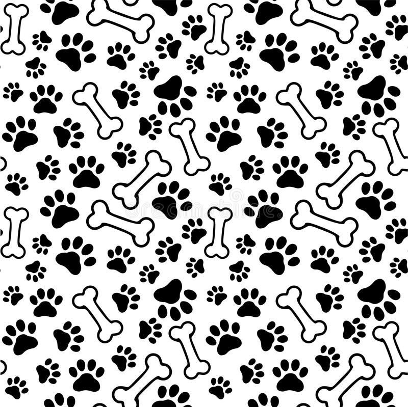 Seamless background - pet paw print and bone vector illustration