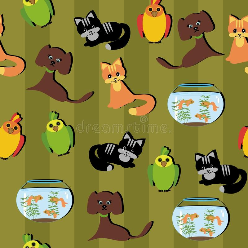 Seamless background with pets stock illustration