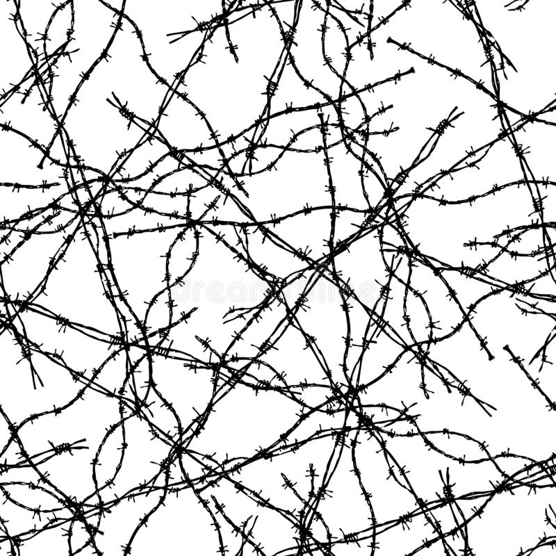 Seamless background of pieces of barbed wire royalty free illustration