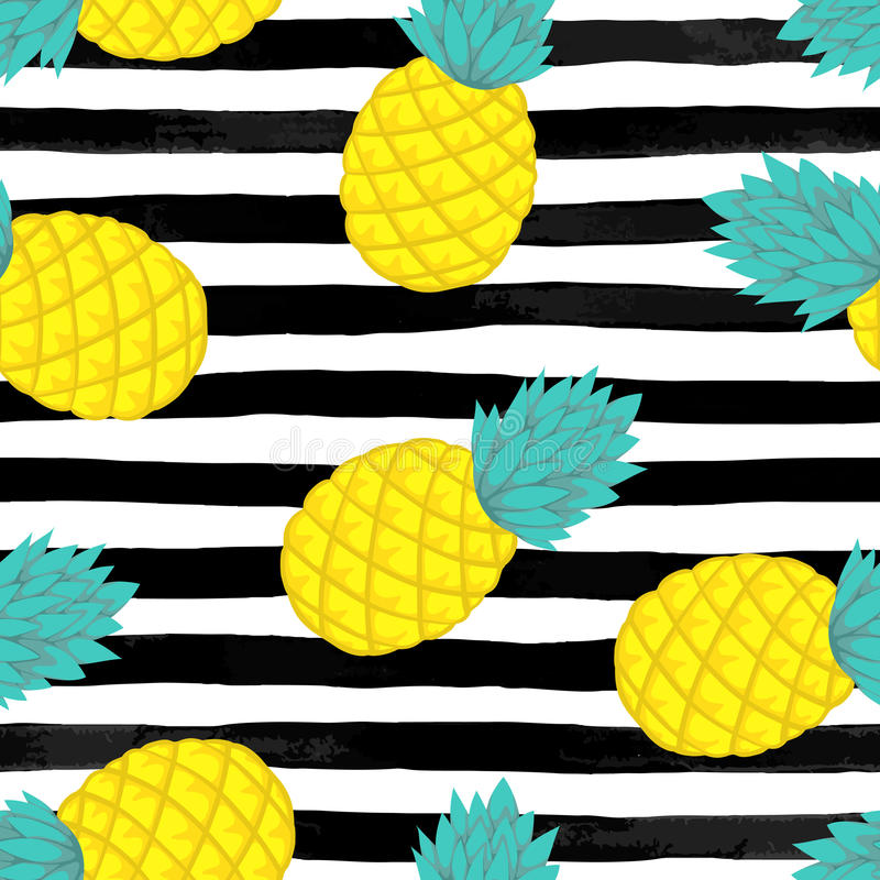 Seamless background with pineapple on black and white watercolor stripes . vector illustration