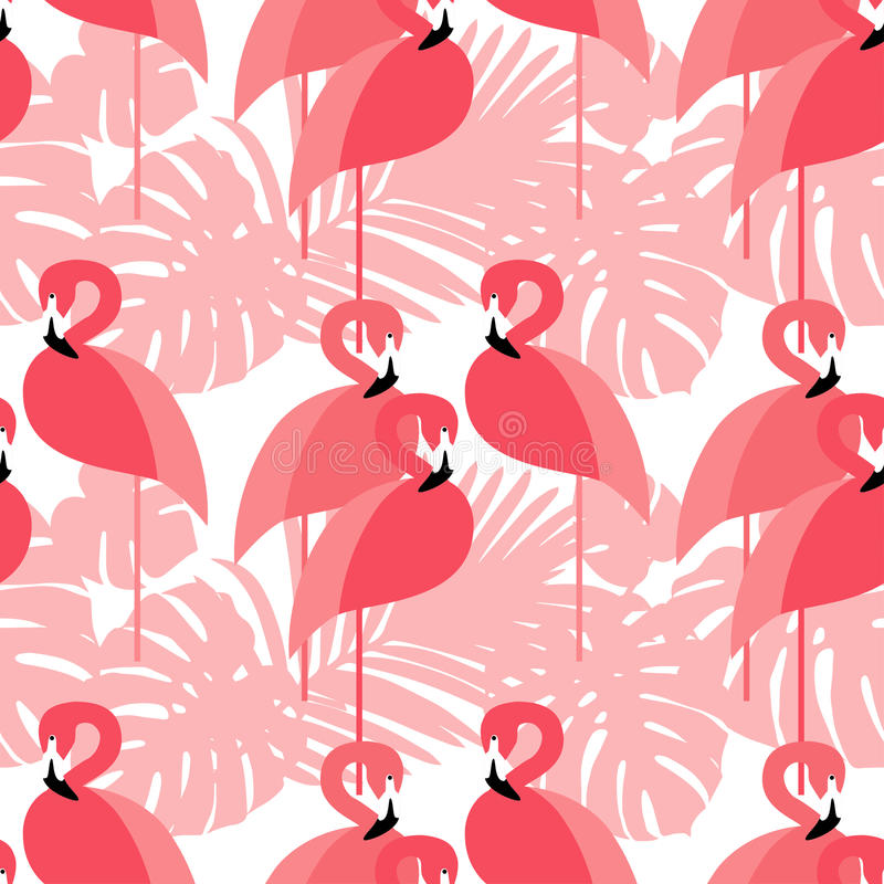 Seamless background. Pink Flamingo on a tropical background. vector illustration