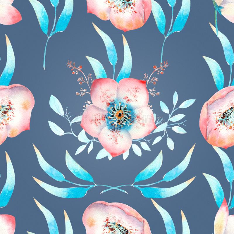 Seamless background with pink hellebore flowers, buds, leaves, decorative branches on a blue background . Watercolor illustration. Handmade, card, pattern vector illustration