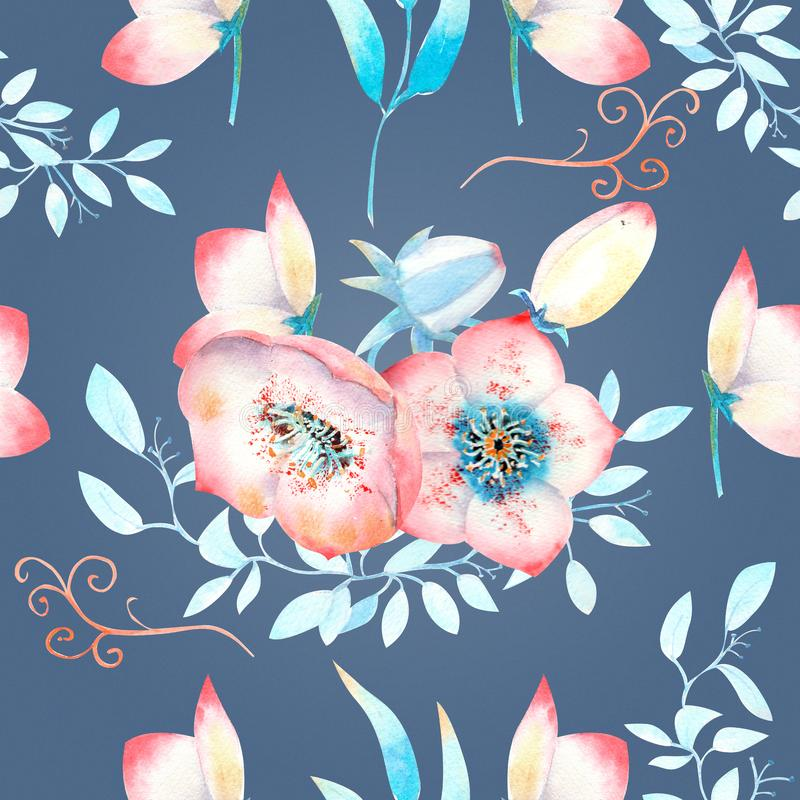 Seamless background with pink hellebore flowers, buds, leaves, decorative branches on a blue background . Watercolor illustration. Handmade, card, pattern stock illustration