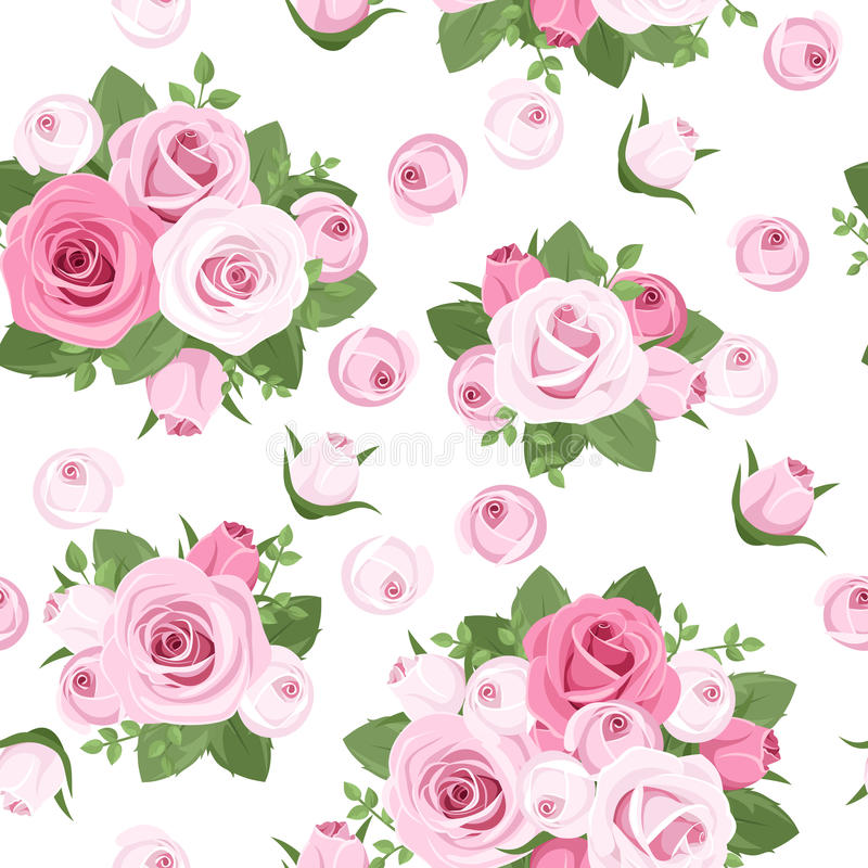 Vector seamless background with roses. vector illustration