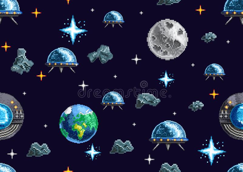 Pixel seamless background with space royalty free illustration