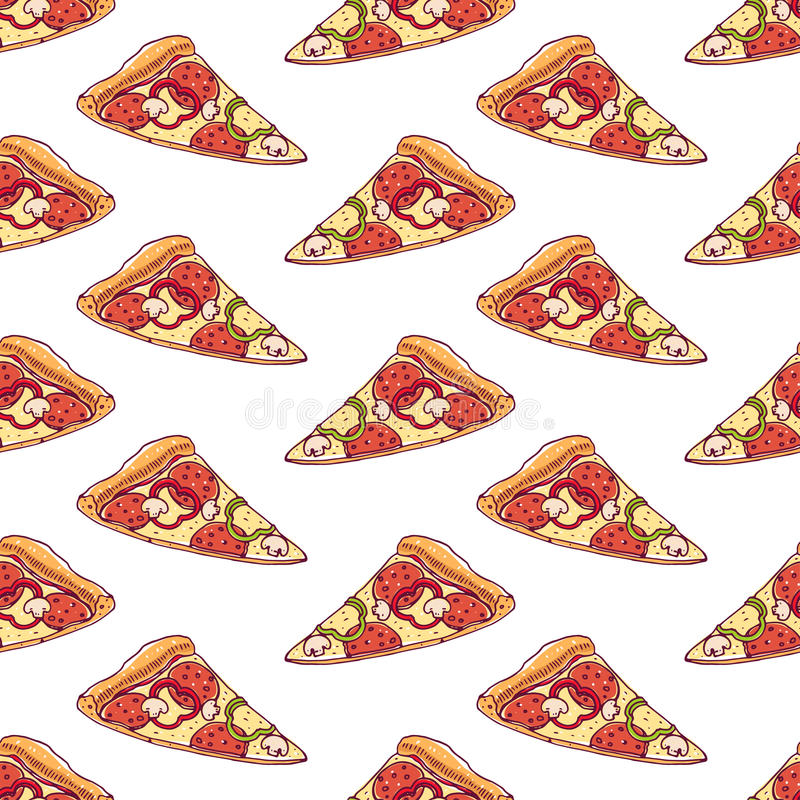 Seamless background with pizza royalty free illustration