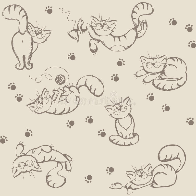 Download Seamless Background With Playful Cats Stock Vector - Image: 24110679