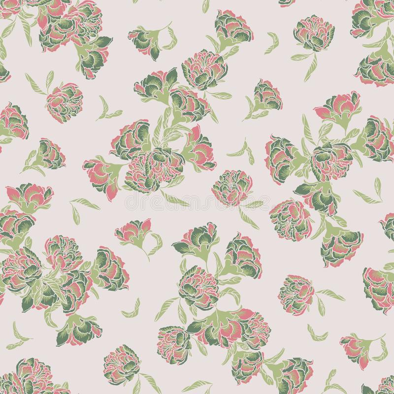 Seamless vector chinoiserie pattern background with pomegranate flowers. royalty free illustration