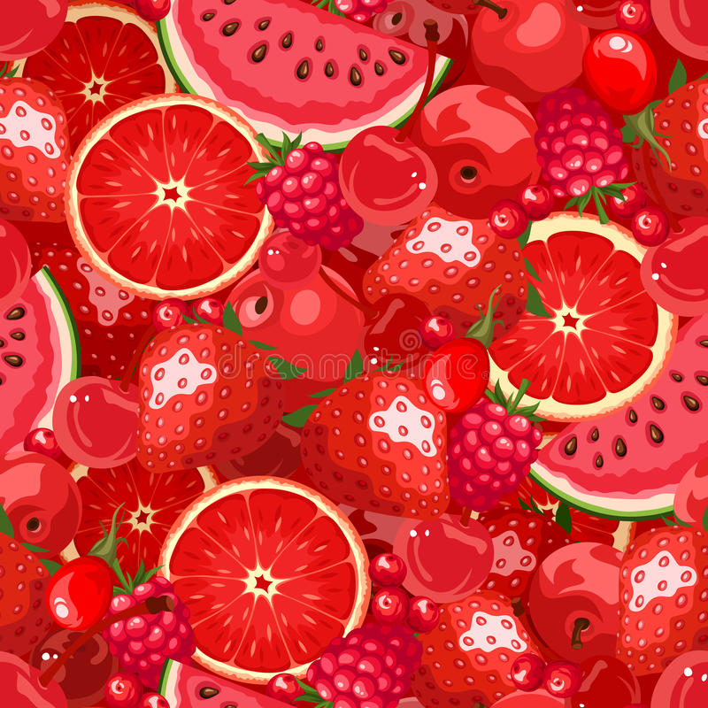 Seamless background with red fruit and berries. Vector illustration. Vector seamless background with various red fruit and berries royalty free illustration