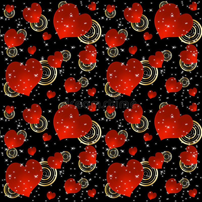 Seamless Background With Red Hearts And Stars Stock Photography