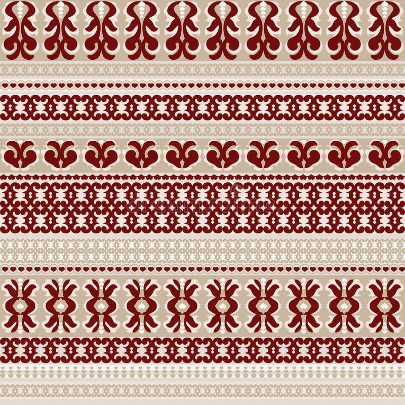 Seamless background with red patterns and small hearts vector illustration