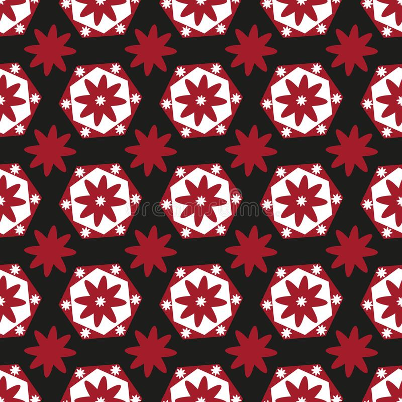 Seamless background of red and white geometric flowers on black vector illustration