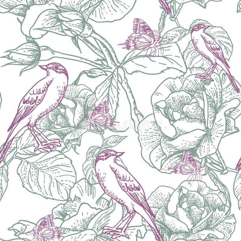 Seamless background with roses and birds royalty free illustration