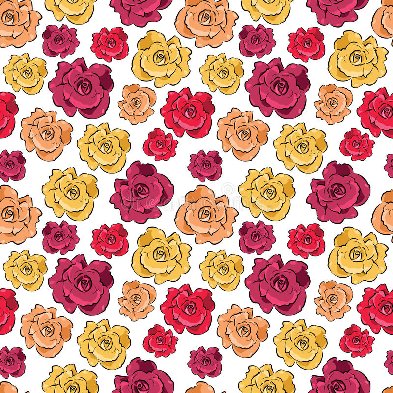 Seamless background with roses - vector pattern stock illustration