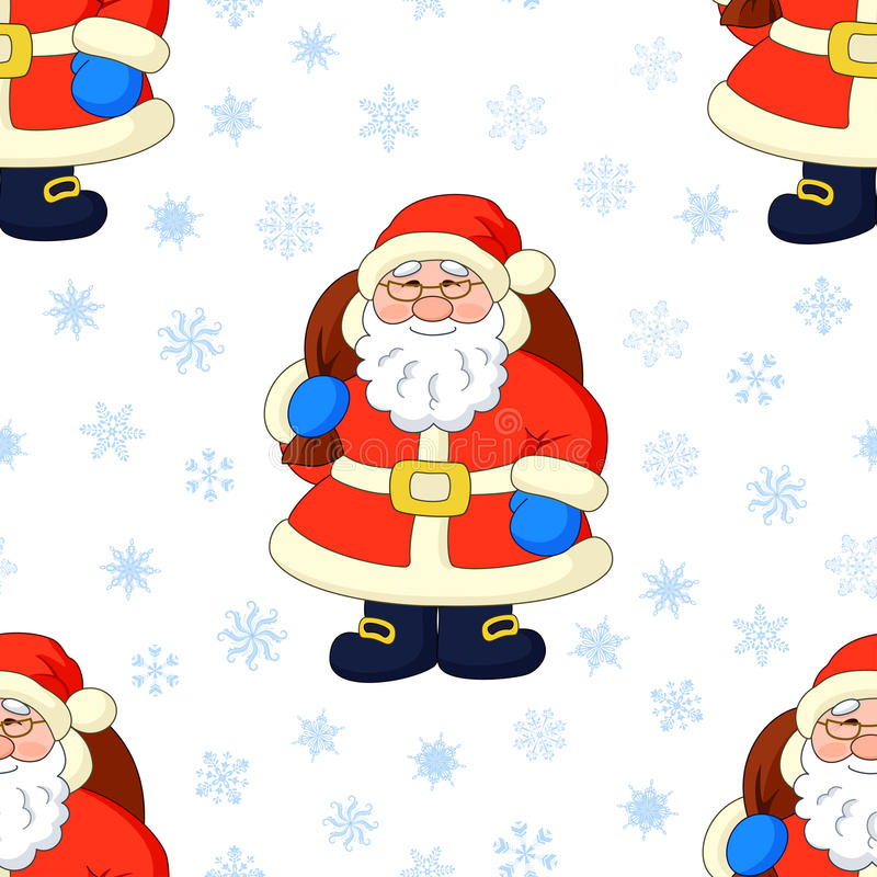 Seamless background, Santa Claus and snowflakes royalty free illustration