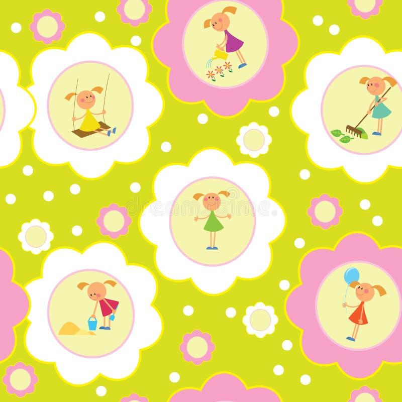 Seamless background set of girls.