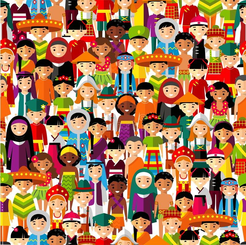 Seamless background with set of multicultural national children. vector illustration