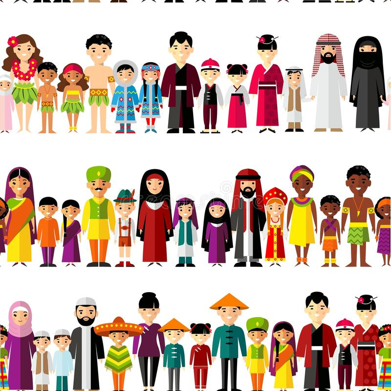 Seamless background with set of multicultural national family. royalty free illustration
