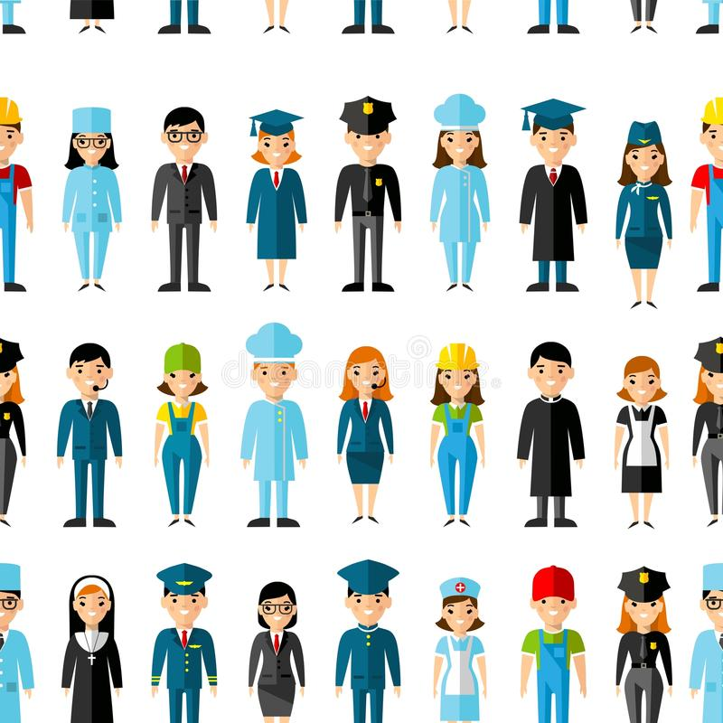 Seamless background with set of profession people icons. vector illustration