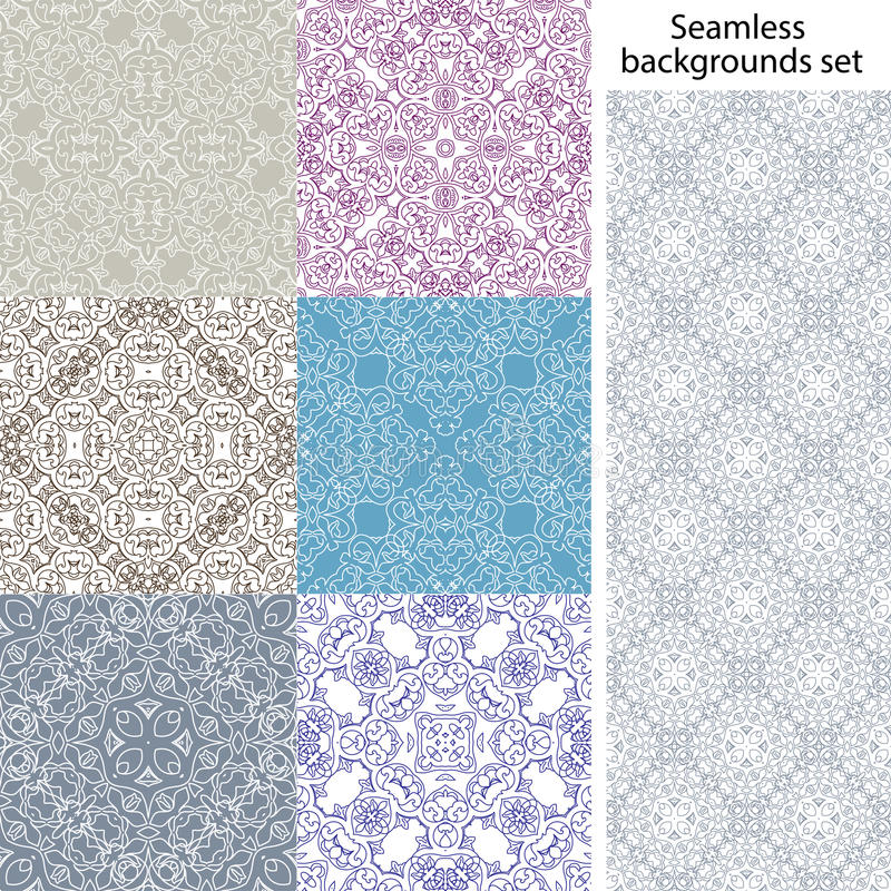 Seamless background set. Vintage geometric textures. Lace pattern. Decorative background for card, web design and etc. stock illustration