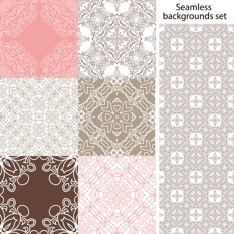 Seamless background set. Vintage geometric textures. Lace pattern. royalty free illustration