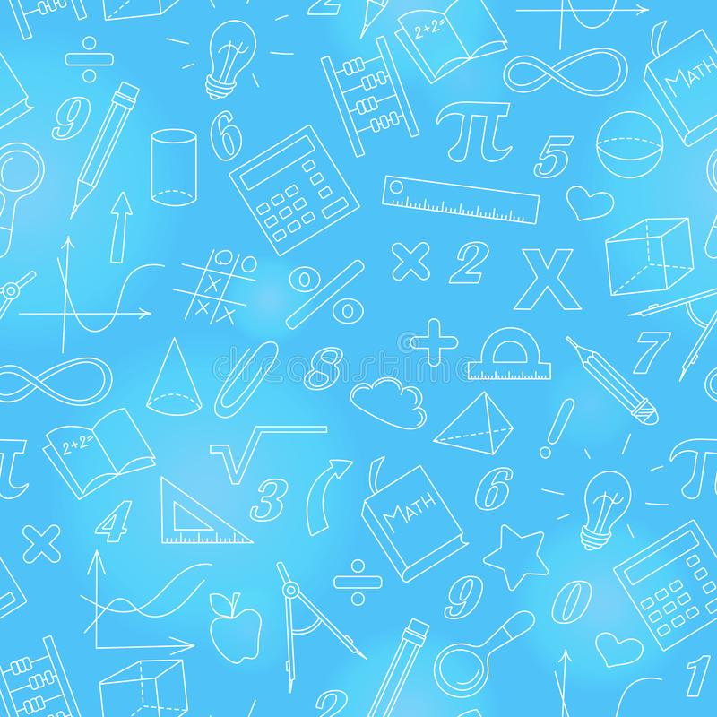 Seamless illustration with simple icons on the theme of mathematics and learning , bright outline on a blue background stock illustration