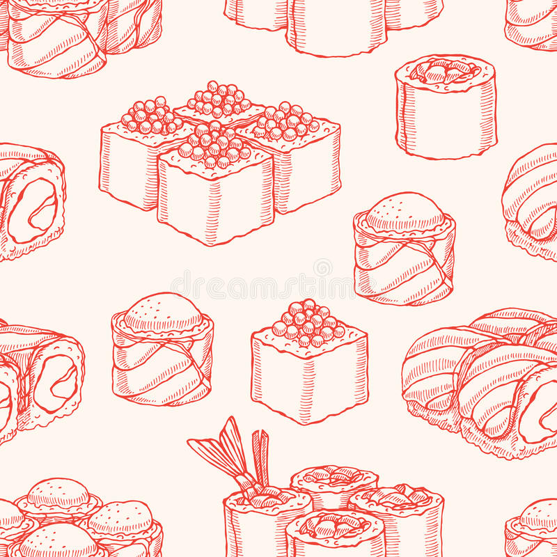 Seamless background with sketch sushi vector illustration