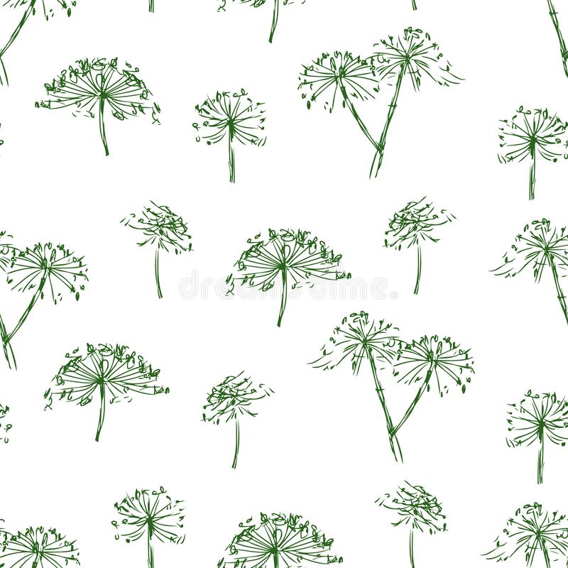 Seamless background of sketches of inflorescence of umbellate flowers royalty free illustration