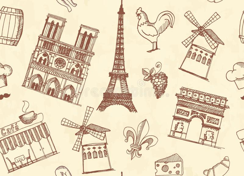Download Seamless Background With Sketches On The Theme Of Paris And France Editorial Photography