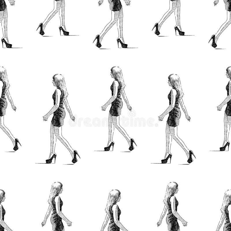 Seamless background of sketches of a walking slim young woman royalty free illustration