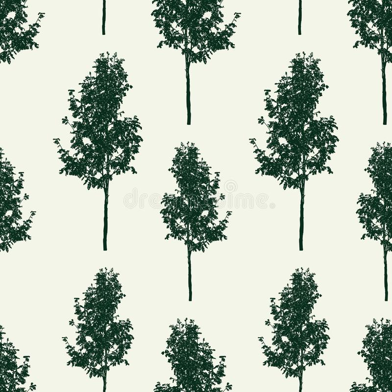 Seamless background of small rowan trees royalty free illustration