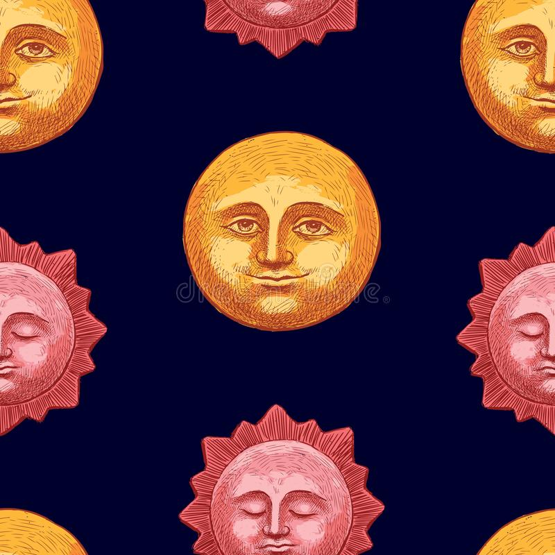 Pattern of the moon and sun at night stock illustration