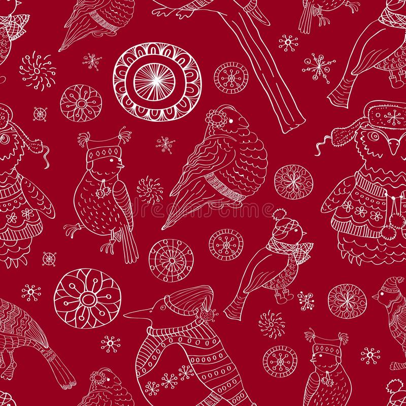 Download Seamless Background With Snowflakes And Birds Stock Illustration - Image: 26910919