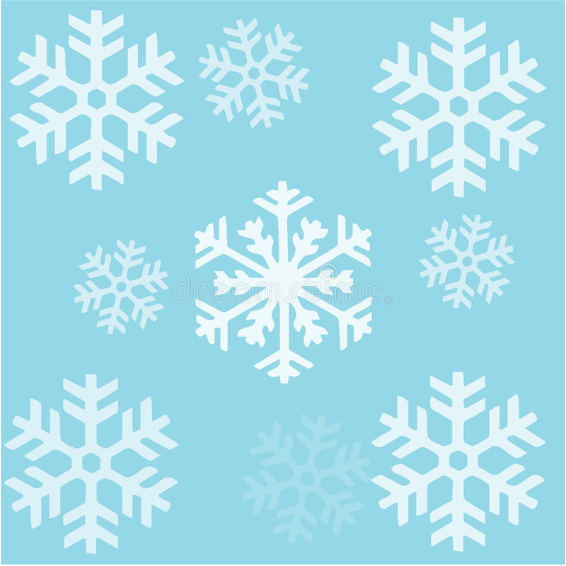 Seamless background snowflakes Patern. On blue background stock illustration