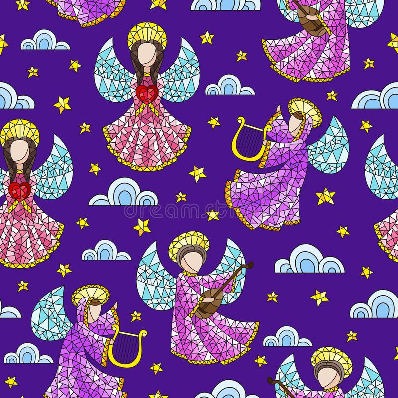 Seamless illustration with stained glass angels, clouds and stars on dark purple background vector illustration