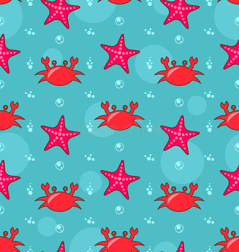 Seamless Background with Starfish and Crabs royalty free illustration